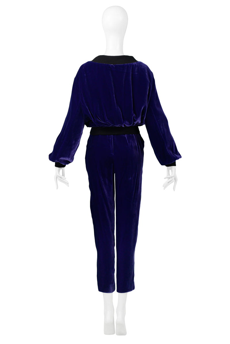 OZBEK PURPLE VELVET BOMBER JACKET & PANTS ENSEMBLE