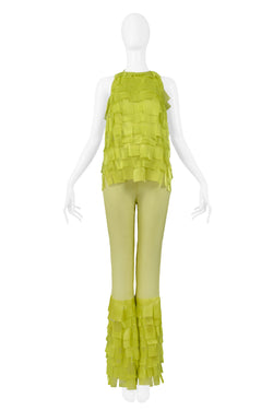 PACO CHARTREUSE GREEN TEXTURED TOP & BELL BOTTOM PANTS 2001