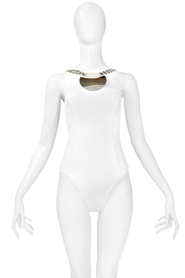 PACO RABANNE WHITE BATHING SUIT WITH METAL DISC 2003 NOS