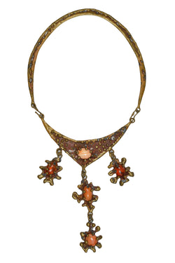 PAL KEPENYES BRUTALIST METAL AND MEXICAN OPAL STATEMENT NECKLACE