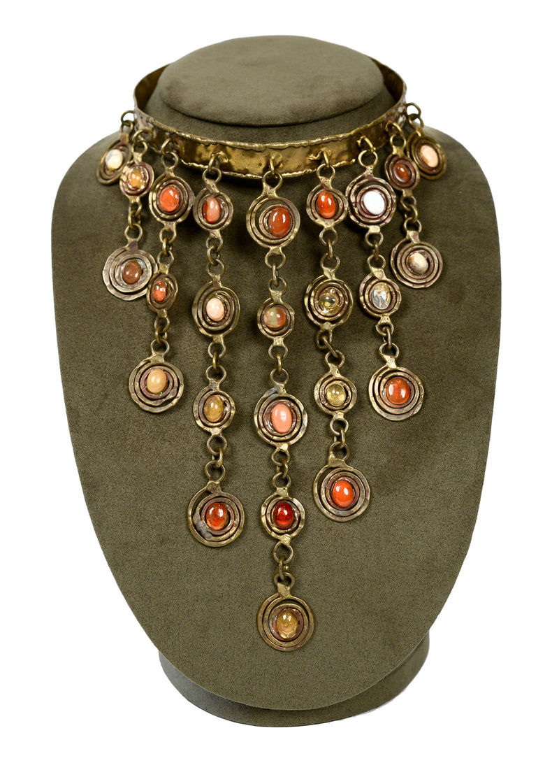 PAL KEPENYES RARE MEXICAN OPAL & BRONZE CHANDELIER NECKLACE