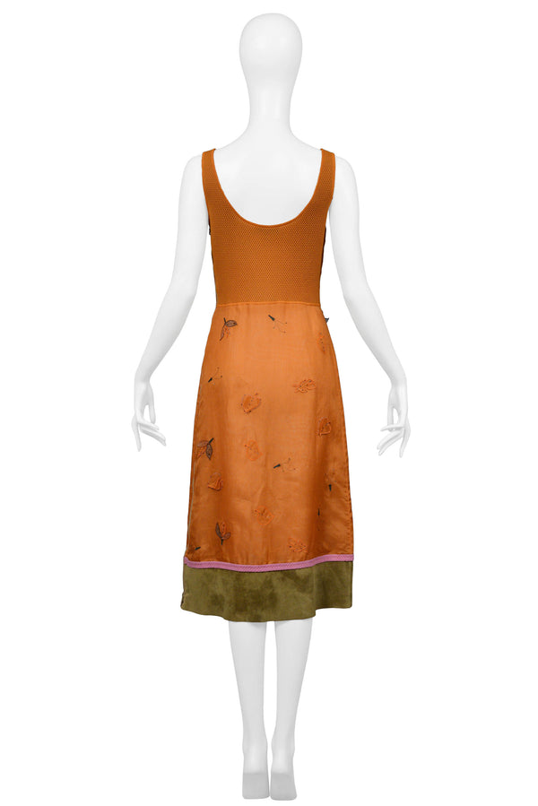 PRADA 1999 ORANGE AND LEATHER DRESS
