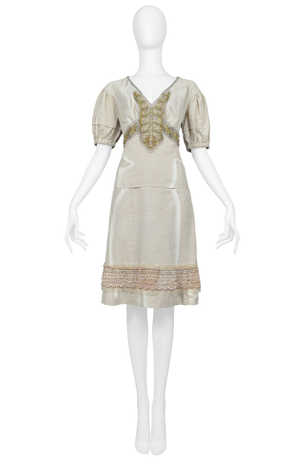 PRADA METAL BEADED BEIGE LINEN DRESS 2006