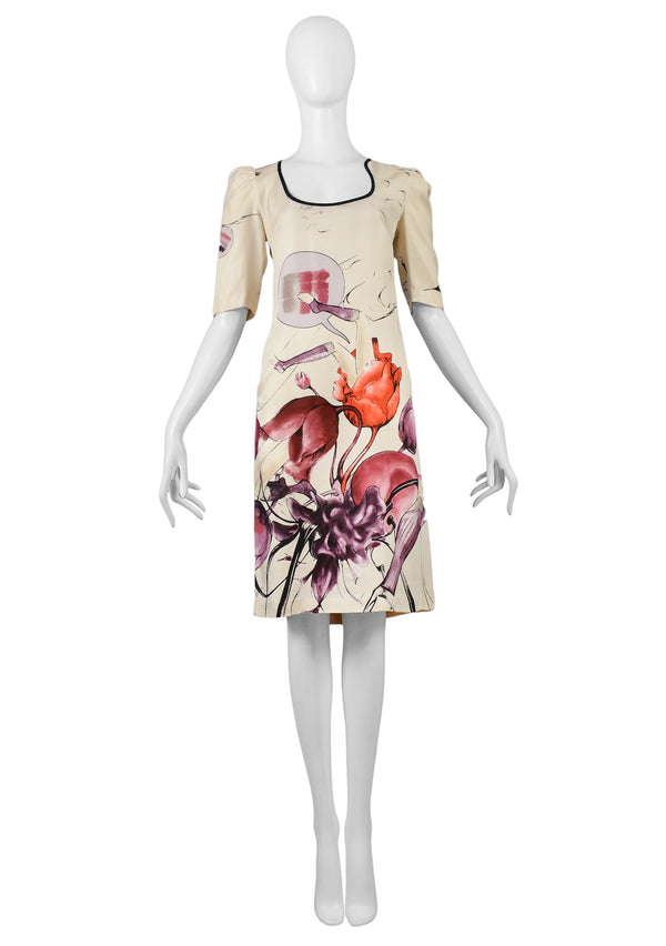 PRADA 2008 SS CREAM FLORAL FAIRY PRINT DRESS