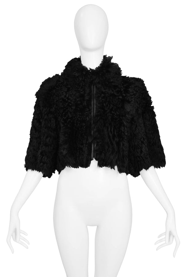 PRADA BLACK DYED SHEEP FUR CROP JACKET