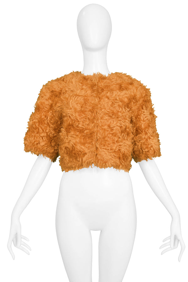 PRADA ORANGE MOHAIR CROPPED JACKET