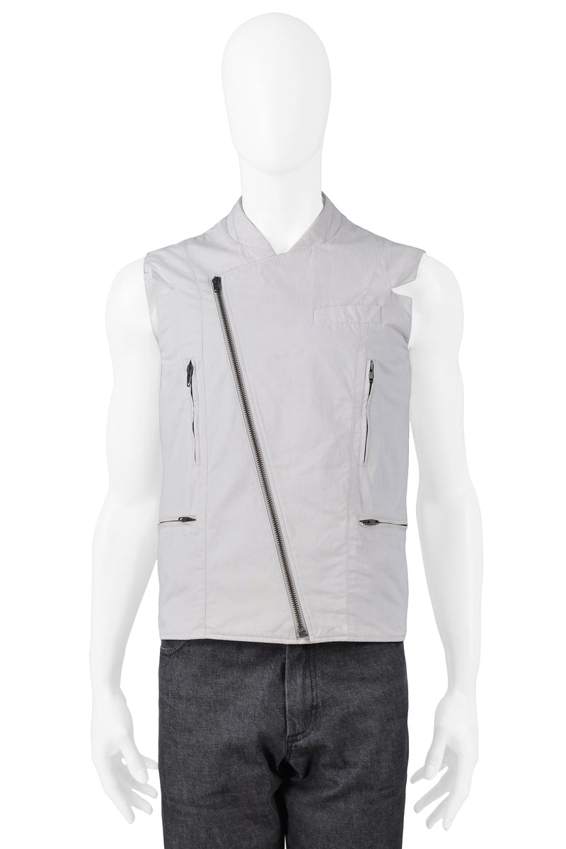 RAF SIMONS OFF WHITE ZIPPER MOTO VEST 2009