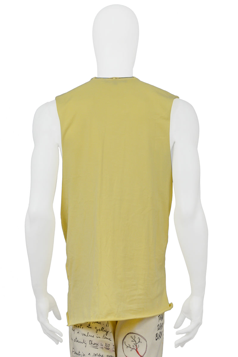 RAF SIMONS YELLOW TANK WITH CRYSTAL NECKLACE 2004