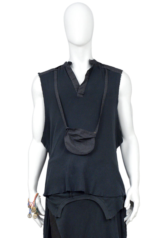 RAF SIMONS BLACK TANK AND DETACHABLE SAC 2004