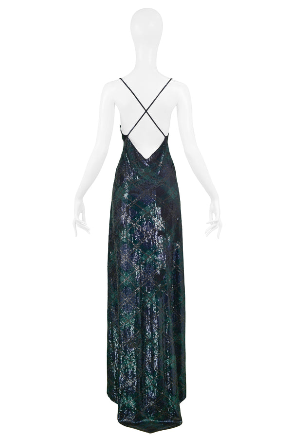 NAVY & GREEN ARGYLE SEQUIN GOWN