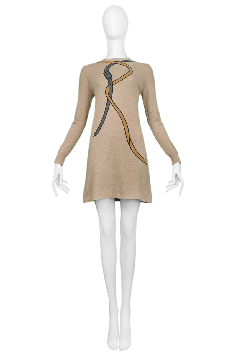 "ROBERTA DI CAMERINO OATMEAL BROWN ""R"" MINI DRESS"