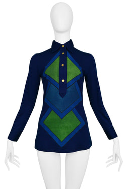ROBERTA DI CAMERINO BLUE FULL DIAMOND SWEATER