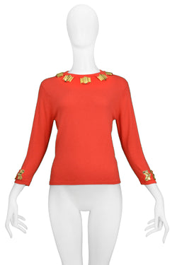 ROBERTA DI CAMERINO RED SWEATER WITH GOLD HARDWARE