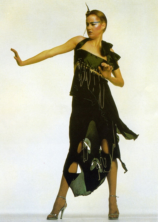 ZANDRA RHODES PUNK COUTURE BLACK JERSEY GOWN 1977