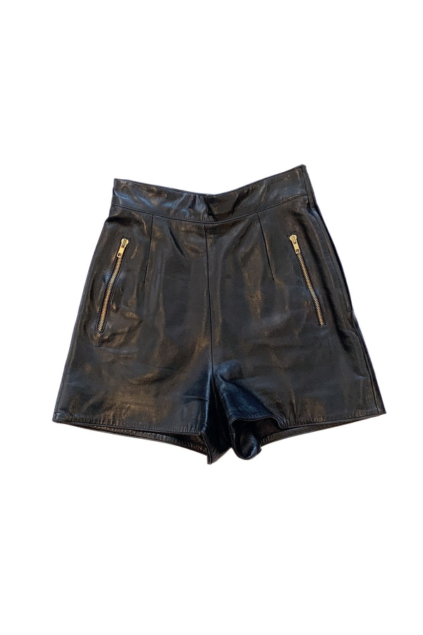 MONTANA BLACK LEATHER SHORTS