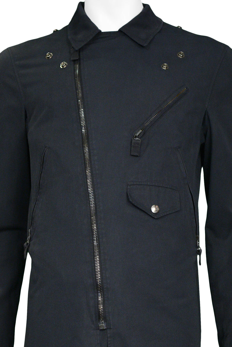 HELMUT LANG BLACK MOTORCYCLE COTTON COAT 2004