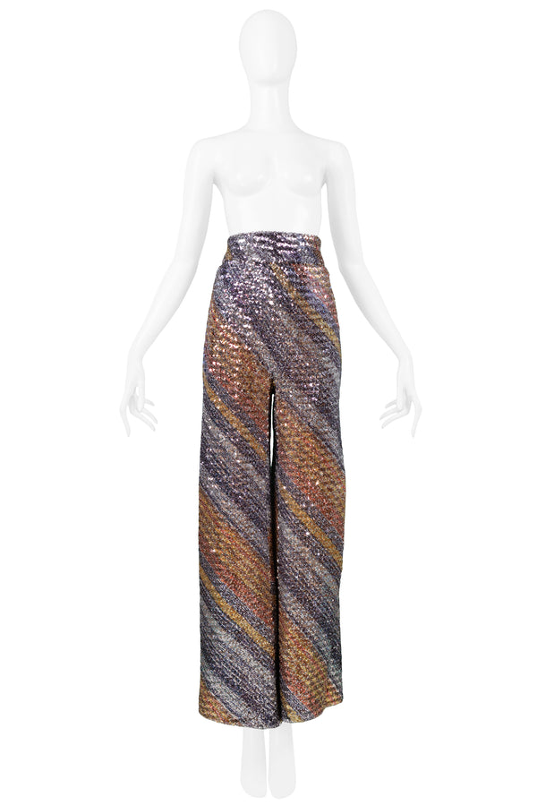 MULTICOLOR STRIPE SEQUIN FLARE PANTS 1970S