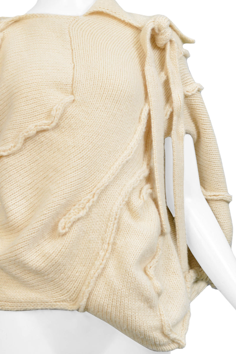 TAO CDG CREAM WOOL COCOON KNOT SWEATER 2008