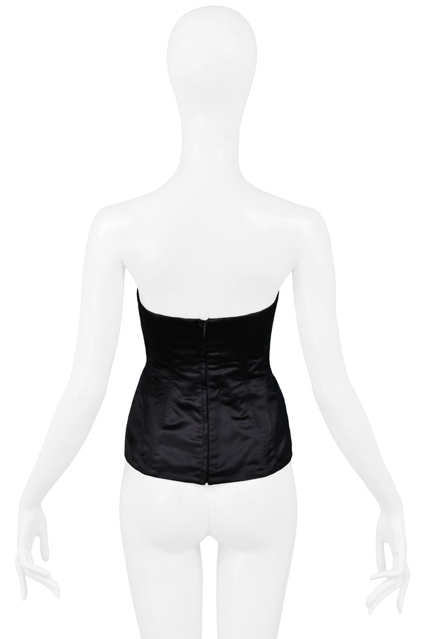 GUCCI TOM FORD BLACK SATIN CORSET BUSTIER TOP 2001