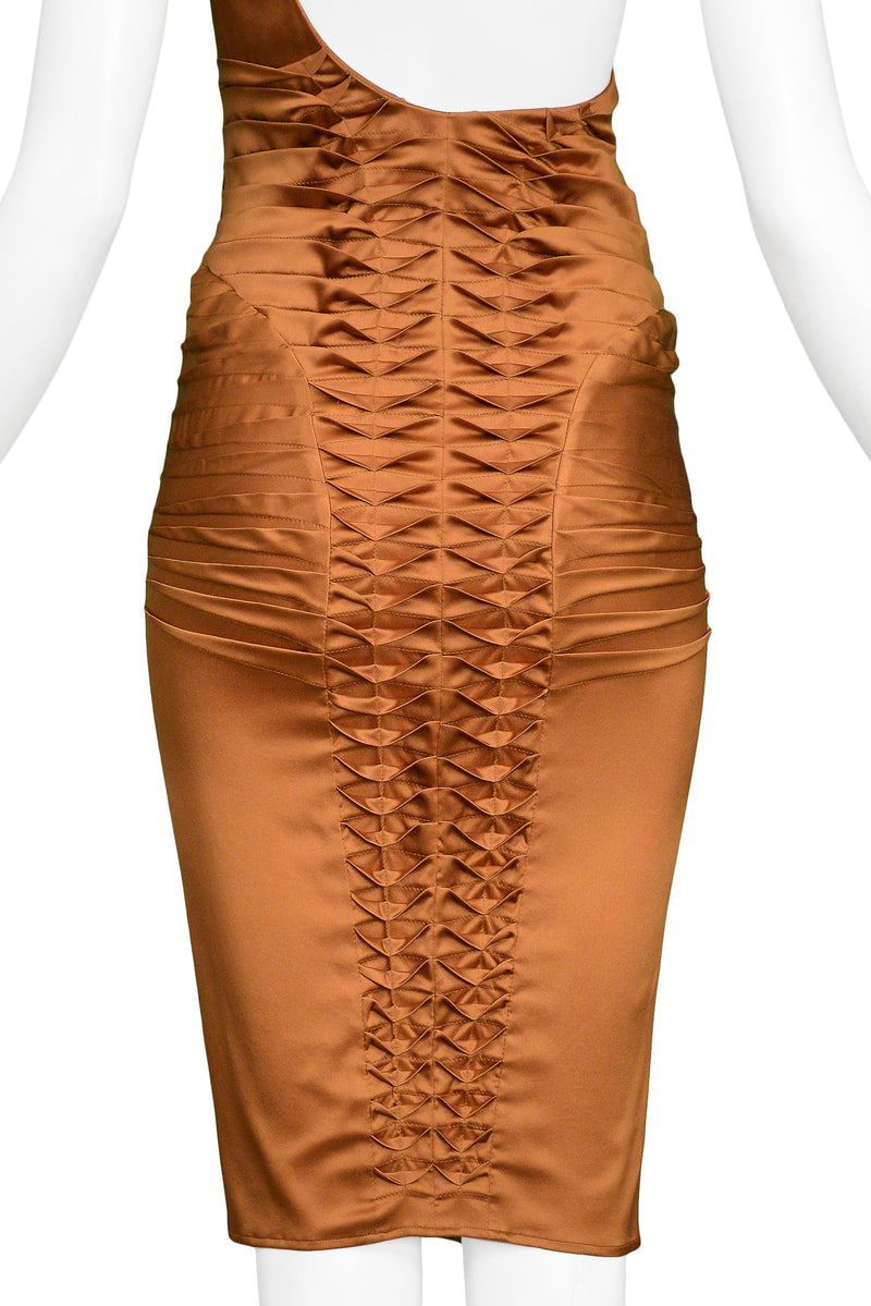 GUCCI BY TOM FORD COPPER SATIN FIN DRESS 2003