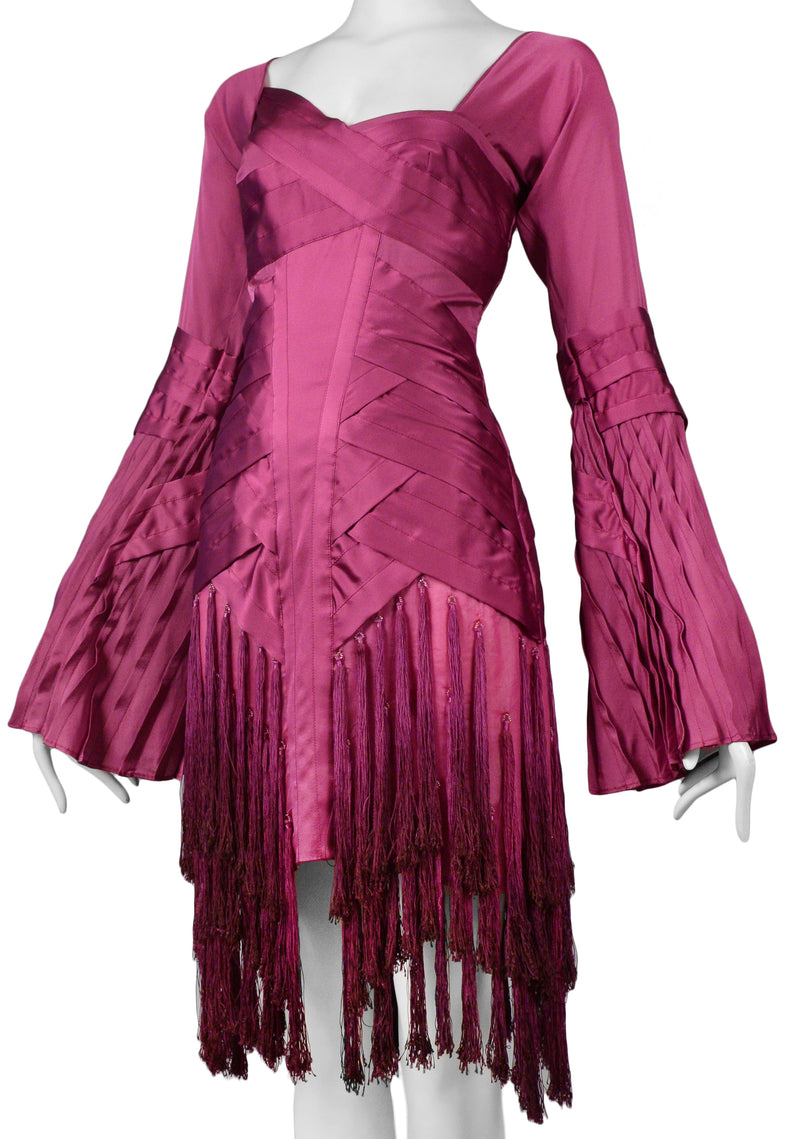 GUCCI BY TOM FORD MAGENTA TASSLE DRESS 2004