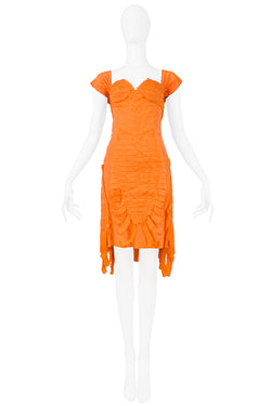 GUCCI BY TOM FORD ORANGE SILK COCKTAIL DRESS 2004