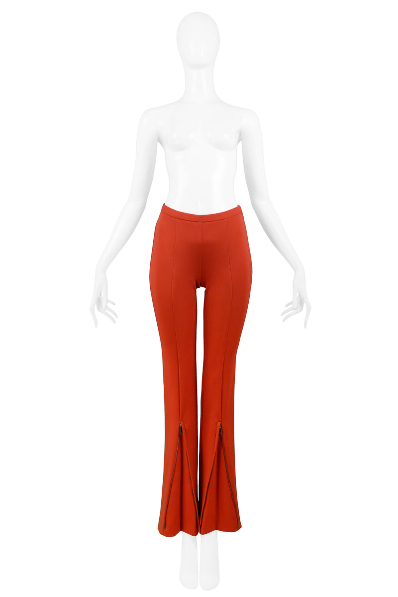 GUCCI RED HIGH WAISTED PANTS WITH FRONT ZIP