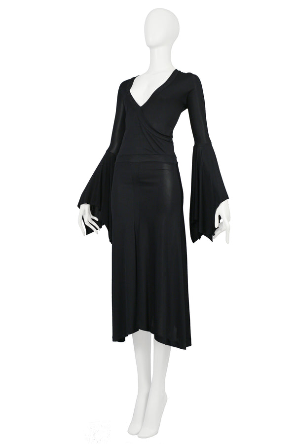 YSL BY TOM FORD BLACK BELL SLEEVED DRESS 2003