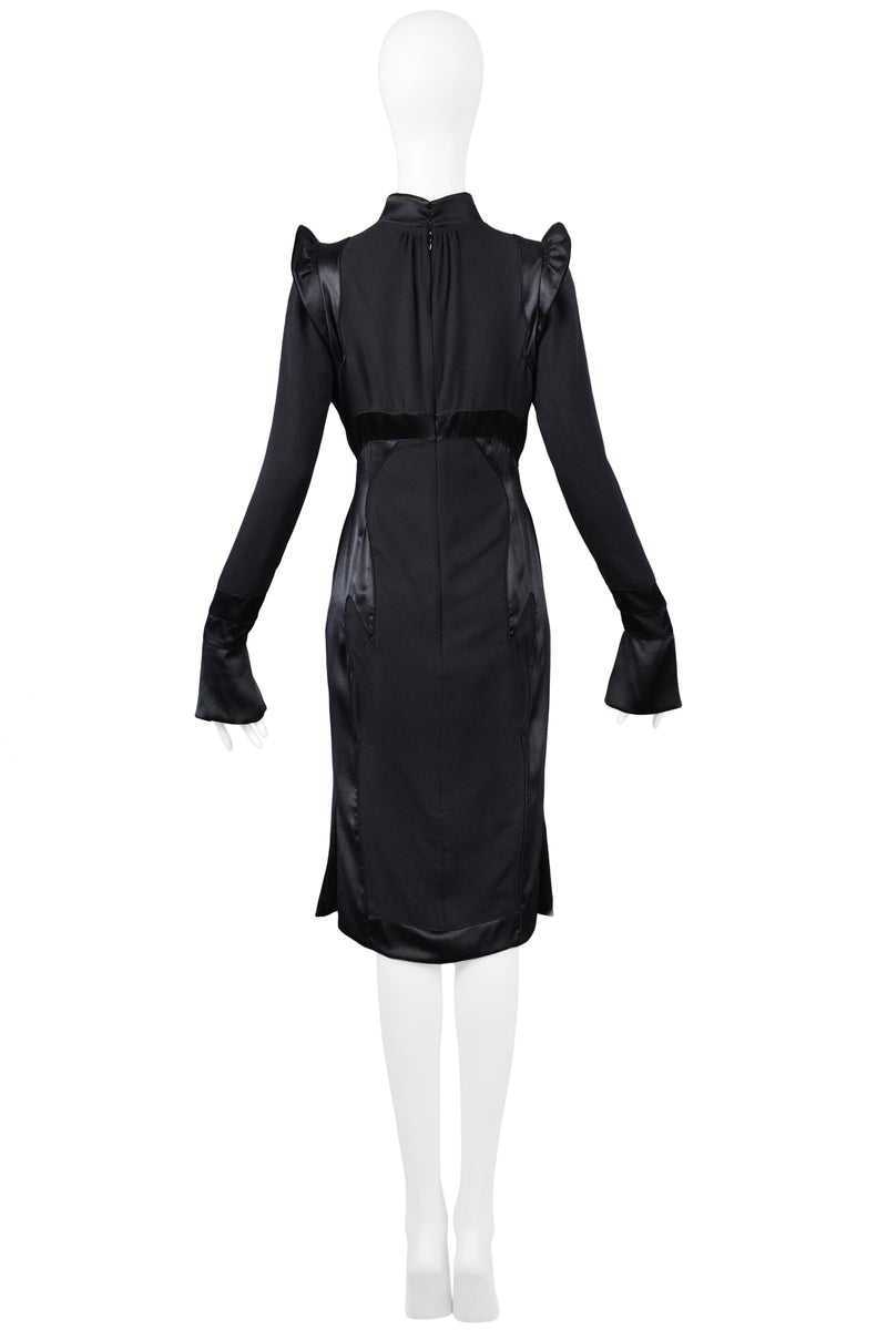 YSL BY TOM FORD BLACK SATIN MANDARIN DRESS 2004