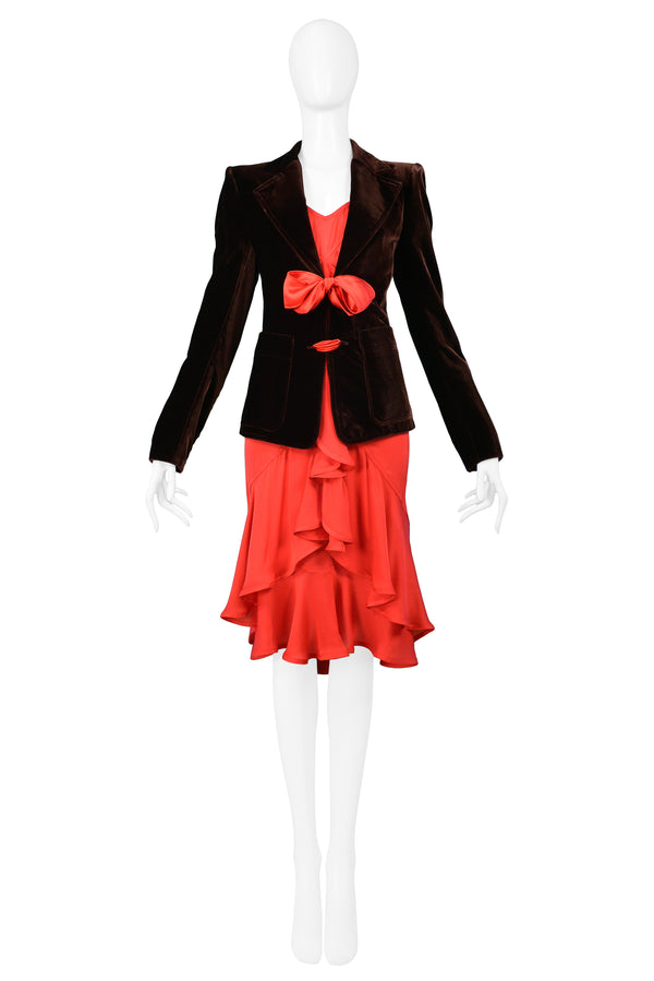YSL BROWN VELVET BLAZER & RED RUFFLE DRESS ENSEMBLE 2003