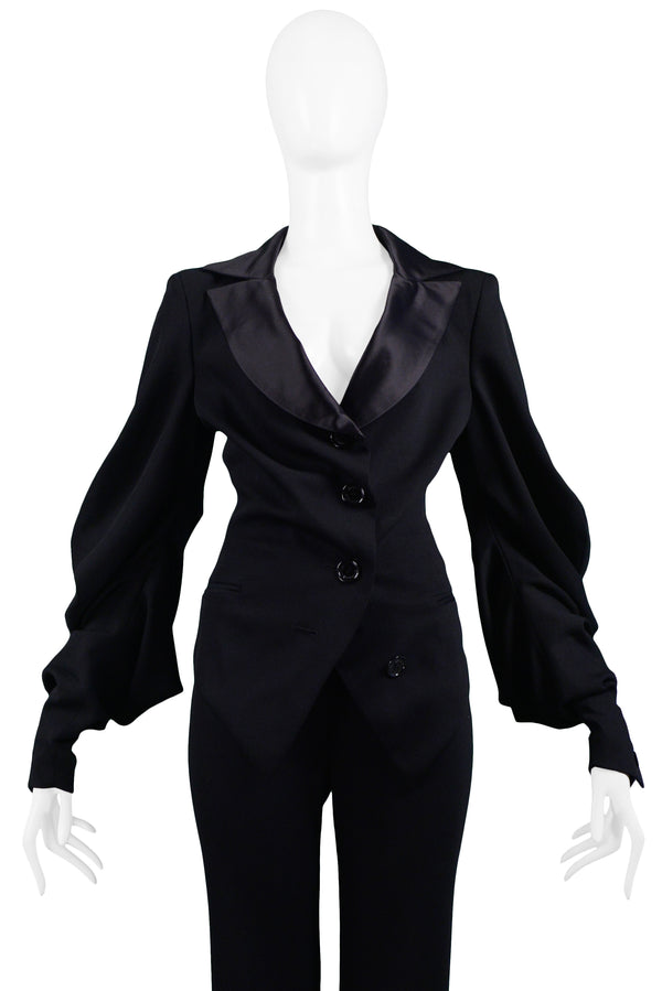 UNGARO BLACK SATIN TRIM SUIT JACKET & TROUSERS