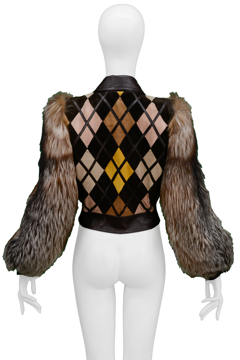 VALENTINO 2005 PYTHON & LEATHER JACKET WITH FUR SLEEVES