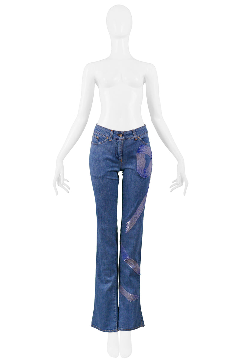 VALENTINO SEQUIN BOW PRINT JEANS 2006