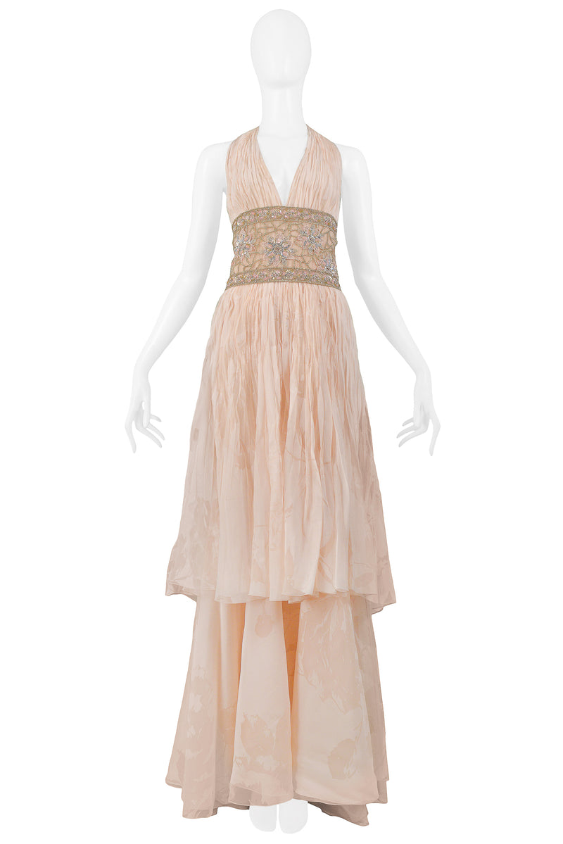 VALENTINO PEACH RUNWAY GOWN WITH BEADED BELT 2007