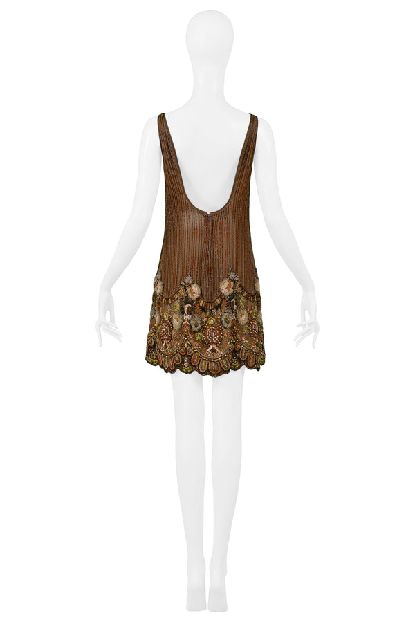 VALENTINO HEAVILY BEADED FLORAL MINI DRESS