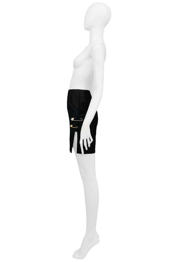 VERSACE BLACK SAFETY PIN SKIRT 1994