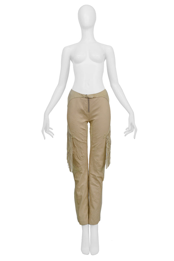 VERSACE TAN LEATHER FRINGE PANTS 2003