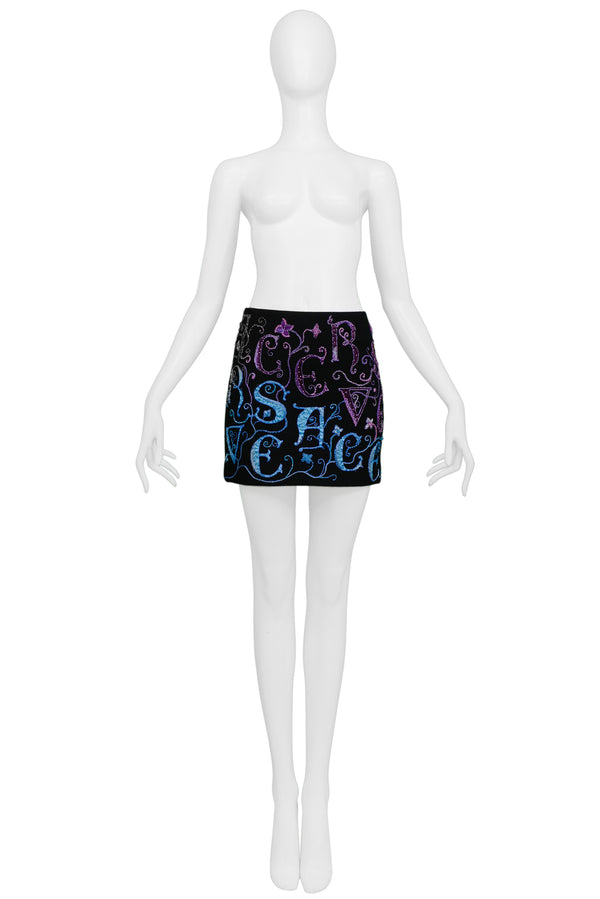 VERSACE ATELIER EMBROIDERED MINI SKIRT