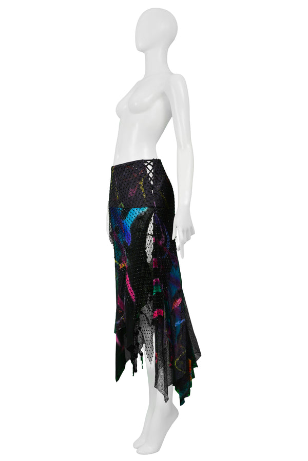 VERSACE BLACK SILK BEADED & GRAFFITI SKIRT 2002