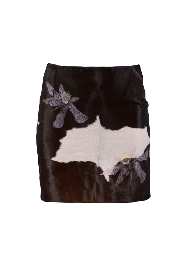 VERSACE CALF HAIR MINI SKIRT