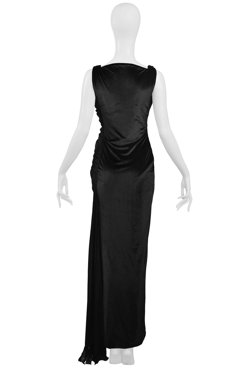 VERSACE COUTURE BLACK VELVET & SHEER GOWN 1995