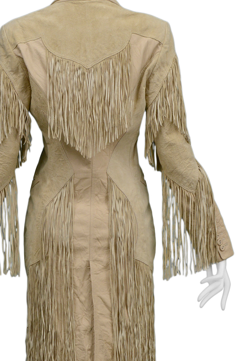 VERSACE TAN LEATHER WESTERN TRENCH WITH FRINGE 2003