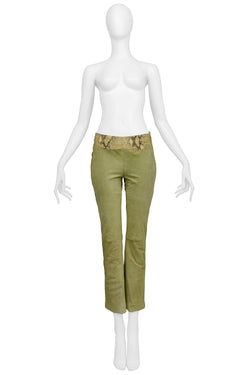 VERSACE GREEN SUEDE & LEATHER PANTS