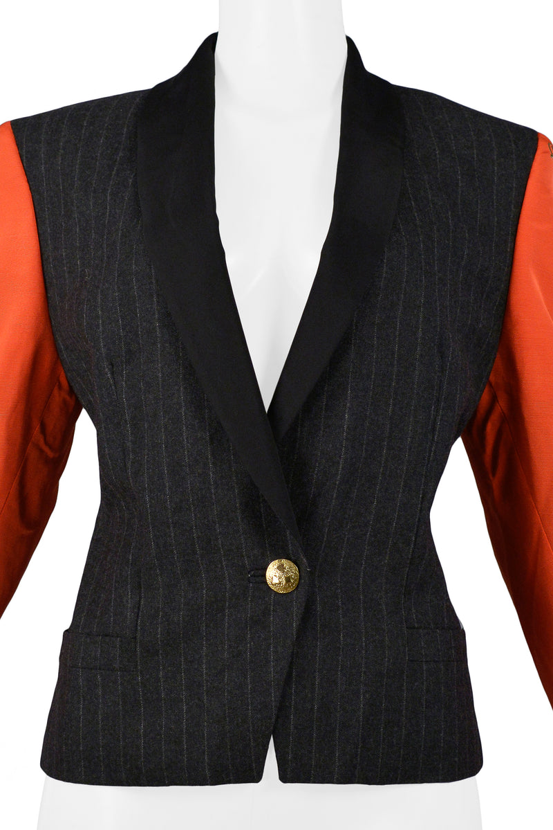 VERSACE COUTURE PINSTRIPE BLAZER WITH RED PRINTED SLEEVES 1990