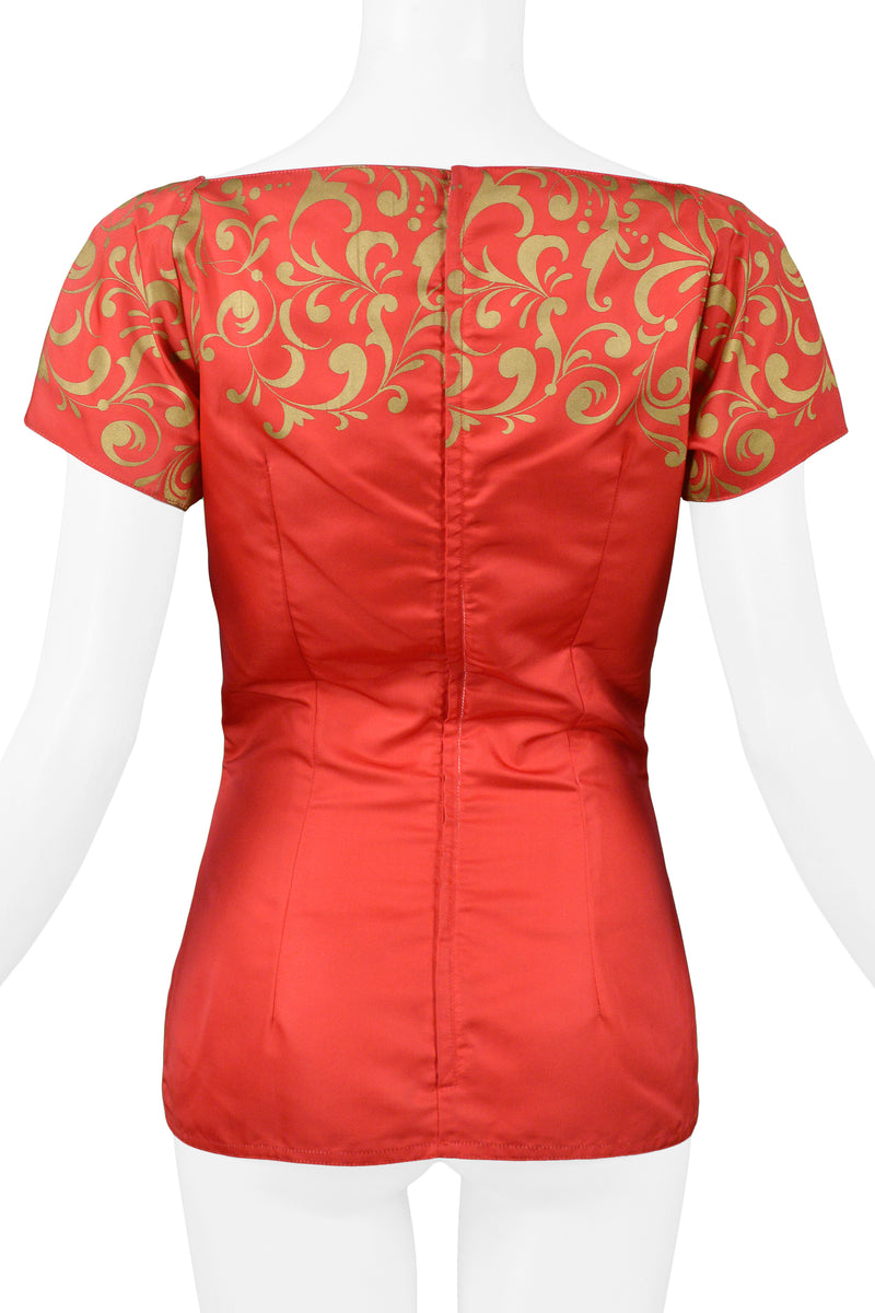 VERSACE RED & GOLD PEPLUM TOP