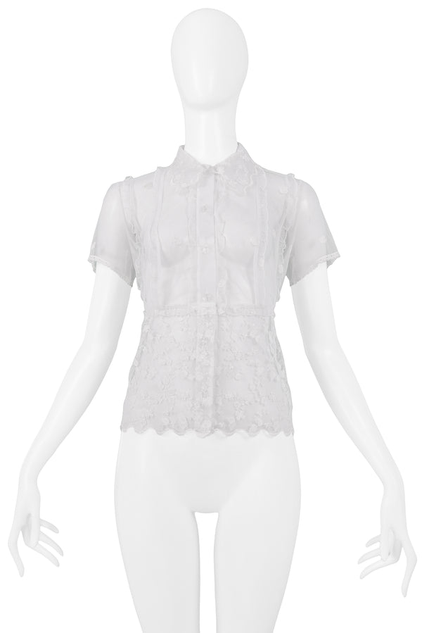 VERSACE WHITE FLORAL LACE SHORT SLEEVE SHIRT