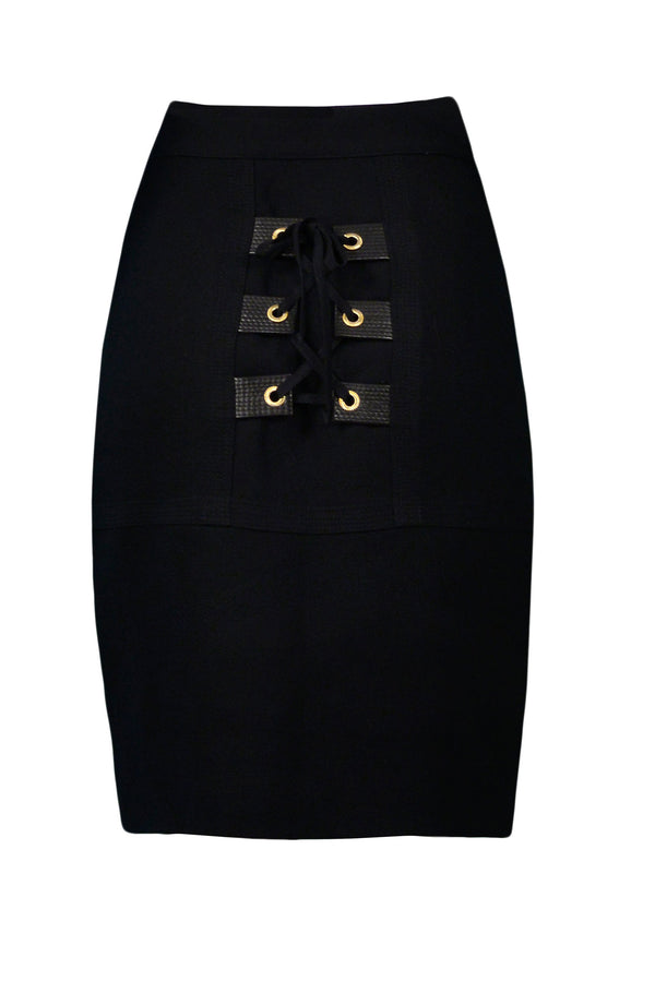 VERSACE BLACK BONDAGE WOOL SKIRT WITH BUCKLES 1992