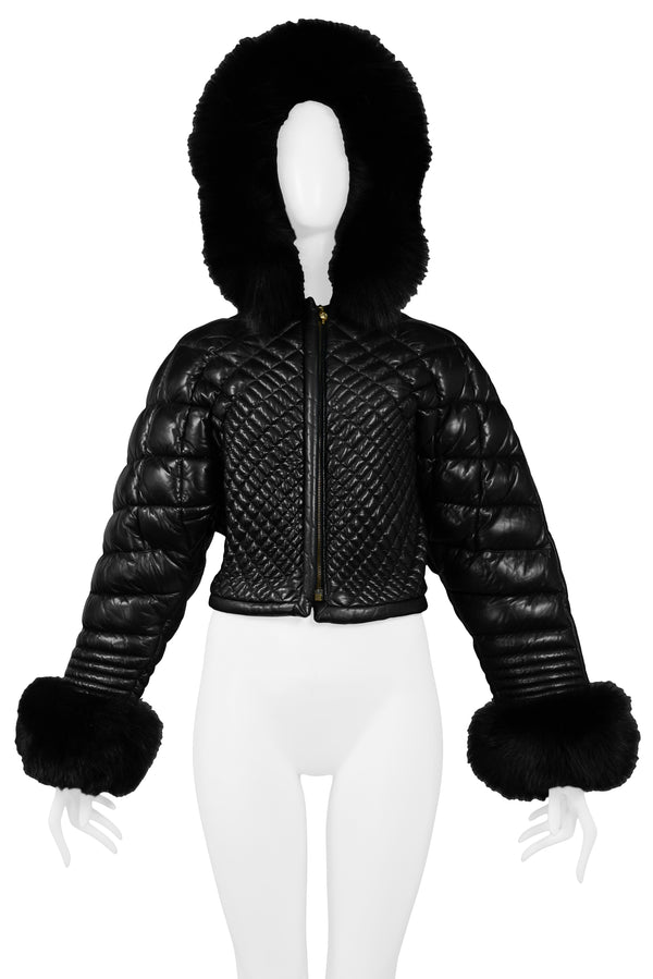 VERSACE BLACK LEATHER & FUR PUFFER JACKET 1992