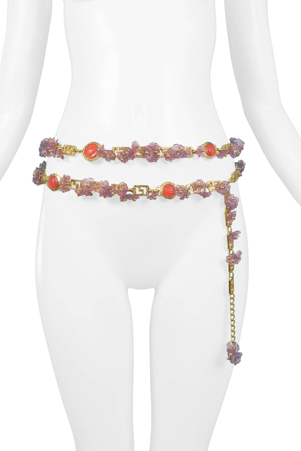 VERSACE ACRYLIC LAVENDER FLORAL & GOLD GRECO BELT 1993