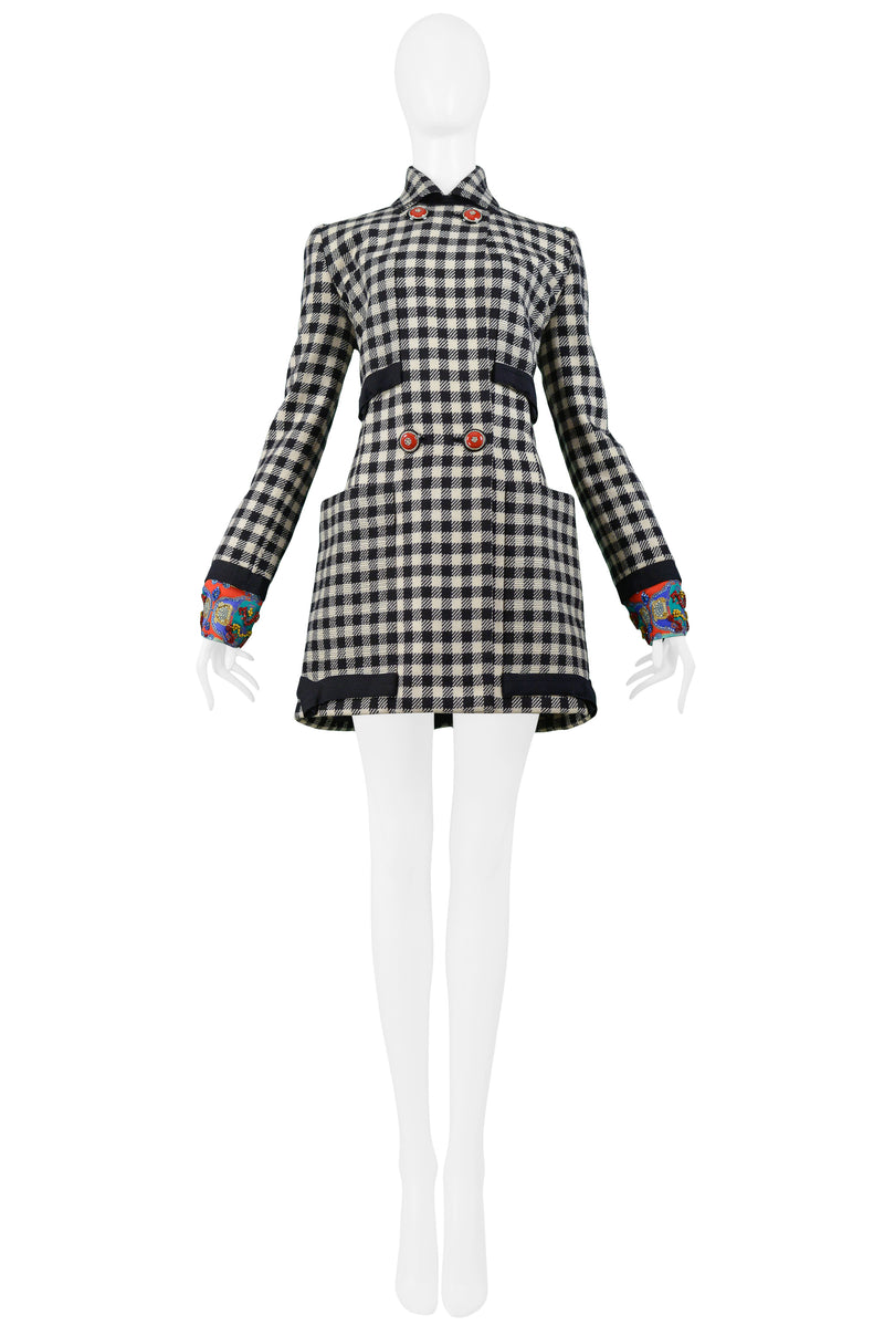 VERSACE BLACK & WHITE CHECK BEADED COAT 1990-91